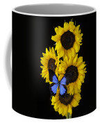 Four Sunflowers And Blue Butterfly Coffee Mug