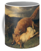 Fox And Hare Coffee Mug by Johann Baptist Hofner