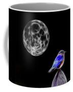Fractal Moon And Bluebird Coffee Mug