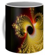 Fractal Spiral Art Yellow Red Metal Effect Coffee Mug