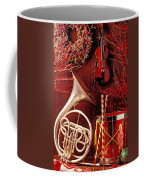 French Horn Christmas Still Life Coffee Mug