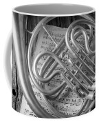 French Horn In Black And White Coffee Mug
