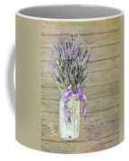 French Lavender Rustic Country Mason Jar Bouquet On Wooden Fence Coffee Mug