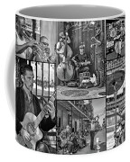 French Quarter Musicians Collage Bw Coffee Mug