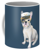 Frenchie French Bulldog Yellow Glasses Captains Hat Dogs In Clothes Coffee Mug