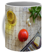Fresh Italian Cooking Ingredients On Tile Coffee Mug