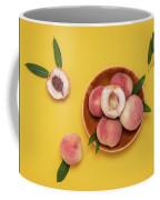 Fresh Juicy Peaches And Green Leaves Coffee Mug