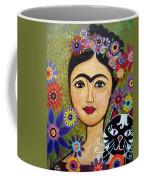 Frida Kahlo And Cat Coffee Mug