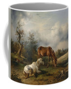 Friedrich Gauermann A Grey And A Chestnut In The Pasture  1825 Coffee Mug