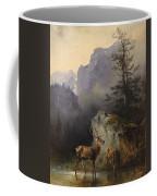 Friedrich Gauermann  Red Deer At The Watering Hole Coffee Mug