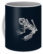 Frog Skeleton In Silver On Blue  Coffee Mug