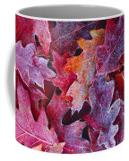 Frosted Red Oak Leaves Coffee Mug