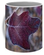 Frosty Maroon Leaf Coffee Mug
