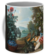 Fruits Flowers And Vegetables In A Landscape Coffee Mug