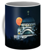 Full Blood Moon Over The Magnificent St. Sava Temple In Belgrade Coffee Mug