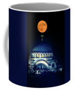 Full Moon Directly Over The Magnificent St. Sava Temple In Belgrade Coffee Mug