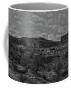 Full Moon Over Red Cliffs Bw Coffee Mug