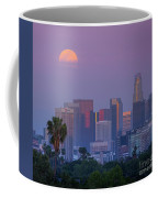 Full Moon Rising Over Downtown Los Angeles Skyline Coffee Mug