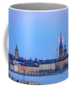 Full Moon Rising Over Gamla Stan Churches In Stockholm Coffee Mug
