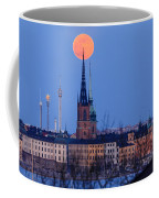 Full Moon Rising Over Gamla Stan In Stockholm Coffee Mug