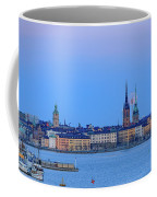 Full Moon Rising Over The Trio Of Gamla Stan Churches In Stockholm Coffee Mug