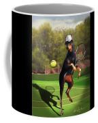 funny pet scene tennis playing Doberman Coffee Mug