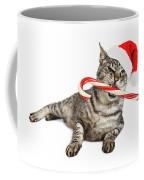 Funny Santa Cat With Candy Cane Coffee Mug