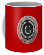 G - Silver Vintage Monogram On Red Leather Coffee Mug