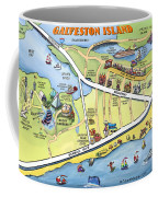 Galveston Texas Cartoon Map Coffee Mug
