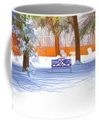 Garden  Bench With Snow Coffee Mug