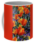 Garden With Blooming Yellow And Red Tulip Blossoms Coffee Mug