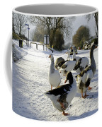 Geese At The Frozen Horninglow Basin Coffee Mug