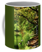Geese By Pond In Autumn Coffee Mug