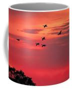 Geese On Their Sunset Arrival Coffee Mug