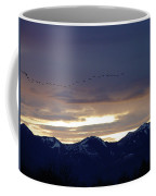 Geese Over The Cascades Coffee Mug