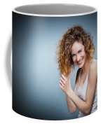 Geniue Portrait Of A Young Positive, Smiling Girl. Coffee Mug