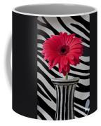 Gerbera Daisy In Striped Vase Coffee Mug