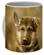 German Shepherd Puppy In Sepia Coffee Mug