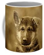 German Shepherd Puppy In Sepia Coffee Mug by Sandy Keeton