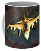 Ghostly Fighter Jet In The Sky Above The Earth Coffee Mug