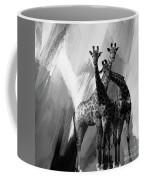 Giraffe Abstract Art Black And White Coffee Mug