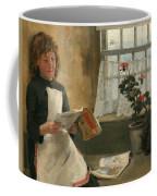 Girl In A Cottage Window Coffee Mug