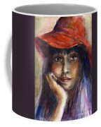Girl In A Red Hat Portrait Coffee Mug