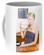 Girl In Cafe Serving Hot Coffee With Heart Teapot Coffee Mug