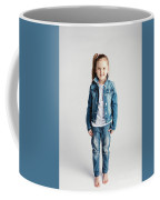 Girl In Jeans Clothes On White Background. Coffee Mug