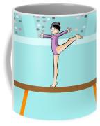 Girl Jumps On One Foot On The Balance Beam Coffee Mug