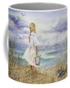 Girl And Ocean Watercolor Coffee Mug