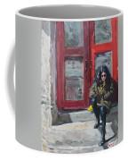 Girl Sitting At Red Doorstep Coffee Mug