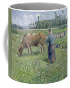 Girl Tending A Cow In Pasture Coffee Mug by Camille Pissarro