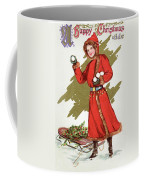 Girl Throwing Snowballs In A Christmas Landscape Coffee Mug